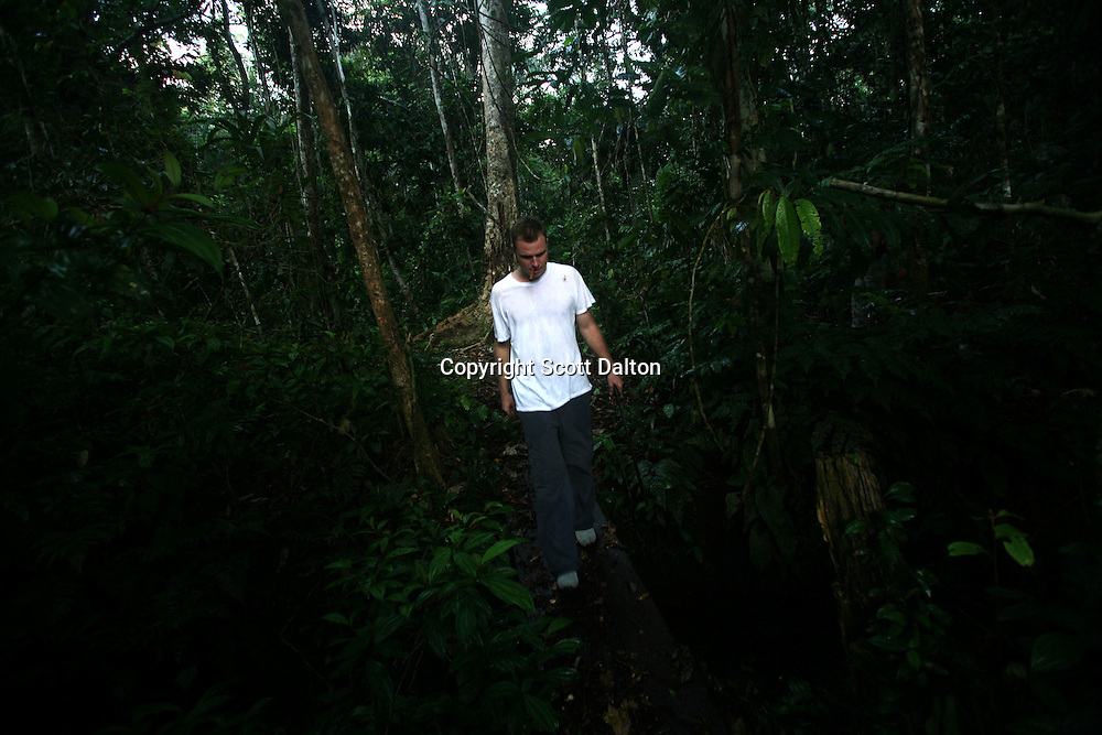 Hamilton Souther, a shamanic guide and the founder of Blue Morpho, a center for shamanic studies about one hour outside of Iquitos in the Peruvian Amazon, on a jungle walk at the Blue Morpho camp on August 13, 2007. (Photo/Scott Dalton).