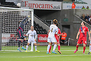 goalkeeper Kritoffer Nordfeldt saves well from forward Vadaine Oliver during the Capital One Cup match between Swansea City and York City at the Liberty Stadium, Swansea, Wales on 25 August 2015. Photo by Simon Davies.