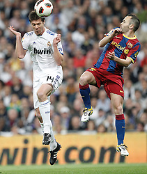 16-04-2011 VOETBAL: REAL MADRID - BARCELONA: MADRID<br /> Xabi Alonso, Andres Iniesta<br /> ©2011-RHP/ EXPA/ Alterphotos/ ALFAQUI/ Cesar Cebolla<br /> *** NETHERLANDS ONLY ***