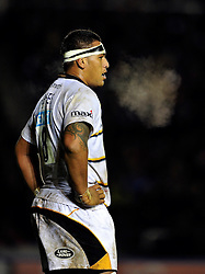 Nathan Hughes of Wasps looks on during a break in play - Photo mandatory by-line: Patrick Khachfe/JMP - Mobile: 07966 386802 17/01/2015 - SPORT - RUGBY UNION - London - The Twickenham Stoop - Harlequins v Wasps - European Rugby Champions Cup