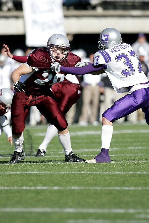 (3 November 2007 -- Ottawa) The University of Ottawa Gee Gees lost to the University of Western Ontario Mustangs 16-23 in OUA football semi-final action in Ottawa. The University of Ottawa Gee Gee player pictured in action is Steven Holness