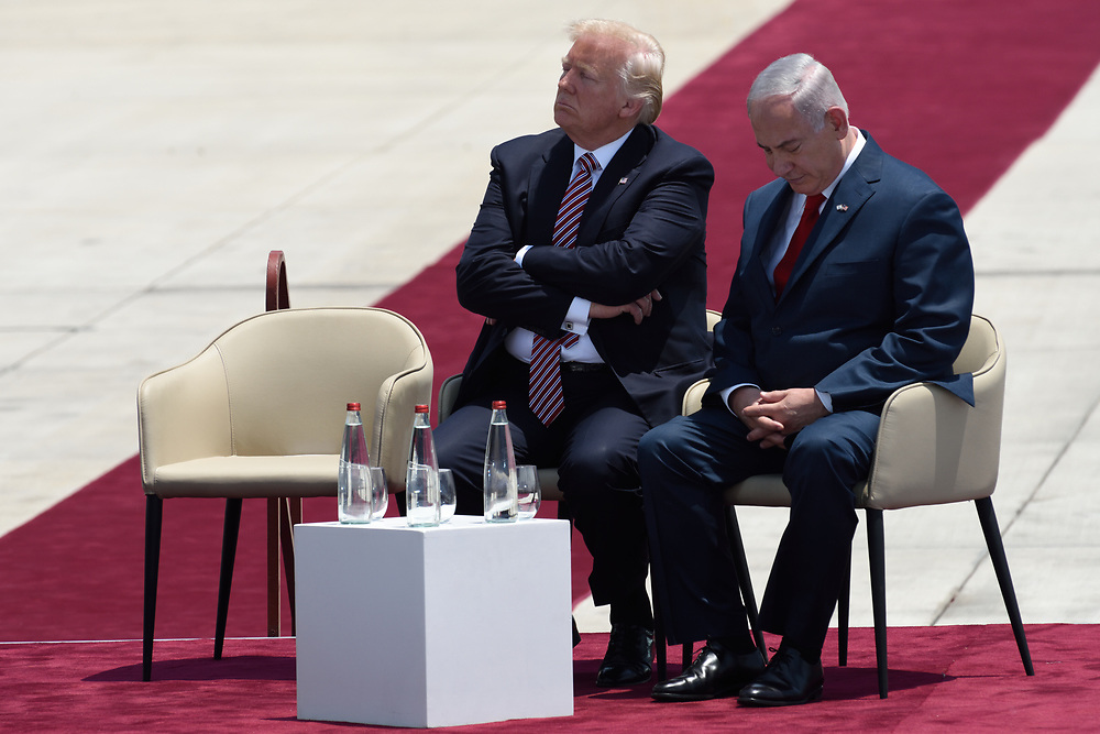 US President Donald Trump and Prime Minister Benjamin Netanyahu during an official welcoming ceremony on his arrival at Ben Gurion International Airport on May, 22 2017 near Tel Aviv, Israel. President Trump arrived to Israel to a two day visit, as part of his first trip abroad since being elected. Photo by Gili Yaari