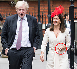 © Licensed to London News Pictures. 09/06/2018. London, UK. Marina Wheeler wearing a ring on her left hand as she leaves her home with BORIS JOHNSON to attend the Trooping of the Colour ceremony on June 9th, 2018. Photo credit: Ben Cawthra/LNP