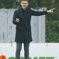 Salford's manager Graham Alexander during the National League match between Dover Athletic FC and Salford City FC at Crabble Stadium, Kent on 06 October 2018. Photo by Matt Bristow.