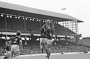 Players from both teams jump to hit the ball during the All Ireland Senior Gaelic Football Championship Final Dublin V Galway at Croke Park on the 22nd September 1974. Dublin 0-14 Galway 1-06.