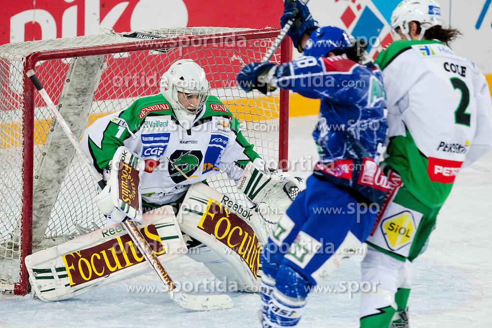 Jean-Philippe Lamoureux (HDD Tilia Olimpija, #1) during ice-hockey match between KHL Medvescak Zagreb and HDD Tilia Olimpija in 43rd Round of EBEL league, on Januar 17, 2012 at Arena Zagreb, Zagreb, Croatia. (Photo By Matic Klansek Velej / Sportida)
