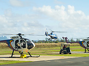 Jack Hareter Helicopters prepare for a sightseeing tour flight out of Lihue (LIH) airport, Lihue, Kauai, Hawaii.