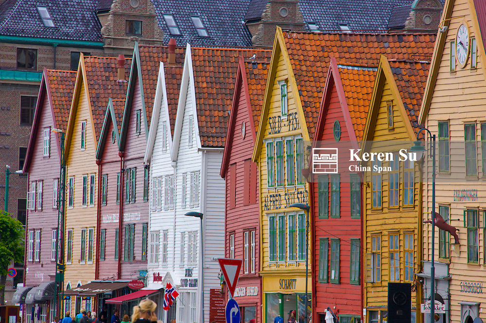 Wooden houses in Bryggen (UNESCO World Heritage site), Bergen, Norway