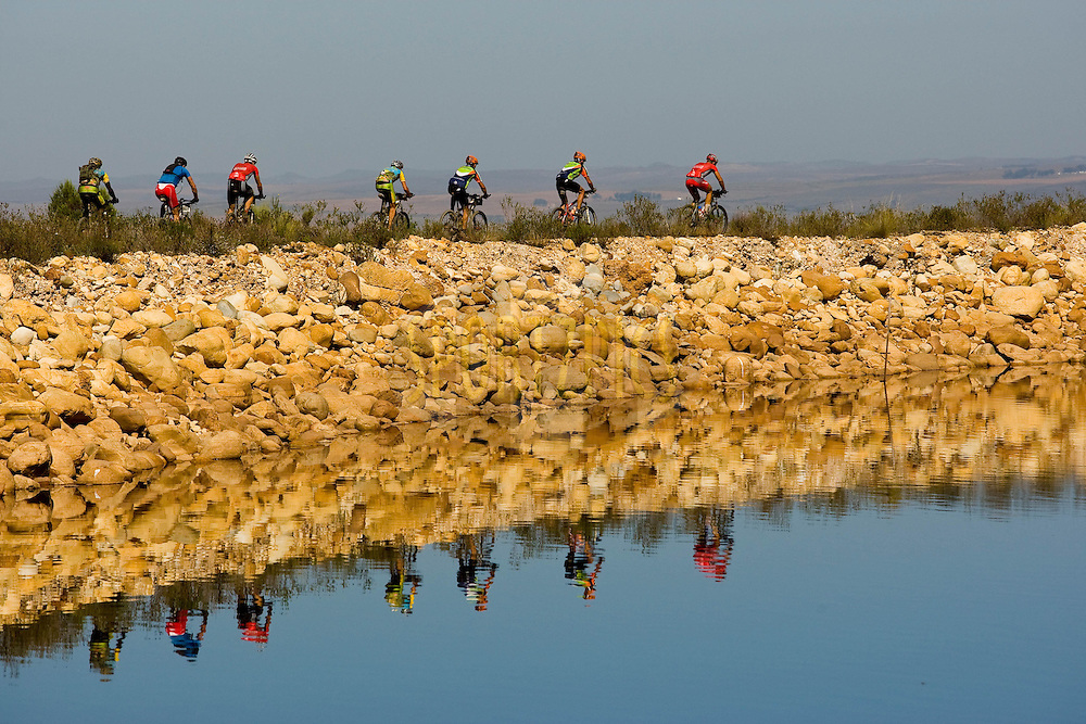WESTERN CAPE, SOUTH AFRICA -  1 April 2008, rider reflections during stage four of the 2008 Absa Cape Epic Mountain Bike stage race from Langenhoven High School in Riversdale to Swellendam Primary School in Swellendam, Western Cape, South Africa..Photo by Sven Martin/SPORTZPICS