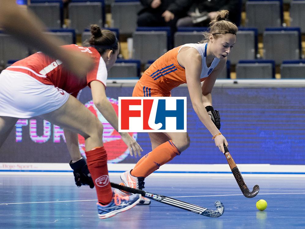 BERLIN - Indoor Hockey World Cup<br /> Women: Netherlands - Switzerland<br /> foto: Marijn Veen.<br /> WORLDSPORTPICS COPYRIGHT FRANK UIJLENBROEK