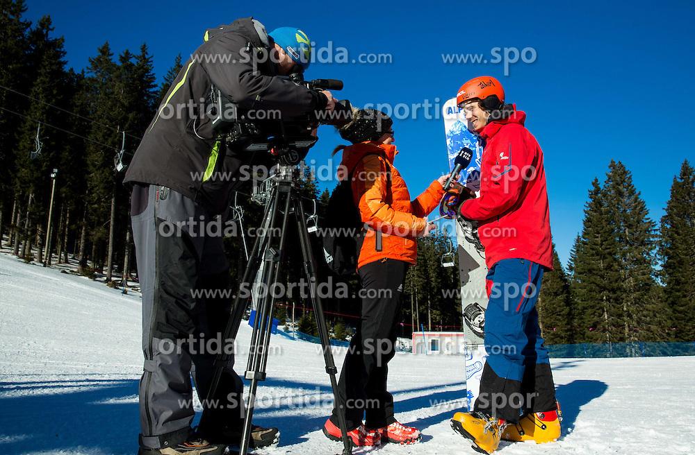 Klemen Golob, Antonija Razen of TV Slovenija and Zan Kosir during training of Snowboarding Team Slovenia prior to the 2015 FIS Freestyle Ski and Snowboard World Championships in Kreischberg (AUT) on January 13, 2015 in Rogla, Slovenia. Photo by Vid Ponikvar / Sportida