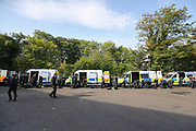 Police prepare before the EFL Sky Bet Championship match between Sheffield Wednesday and Sheffield Utd at Hillsborough, Sheffield, England on 24 September 2017. Photo by Phil Duncan.