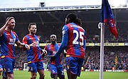 Emmanuel Adebayor celebrates his first goal for Palace during the Barclays Premier League match between Crystal Palace and Watford at Selhurst Park, London, England on 13 February 2016. Photo by Michael Hulf.