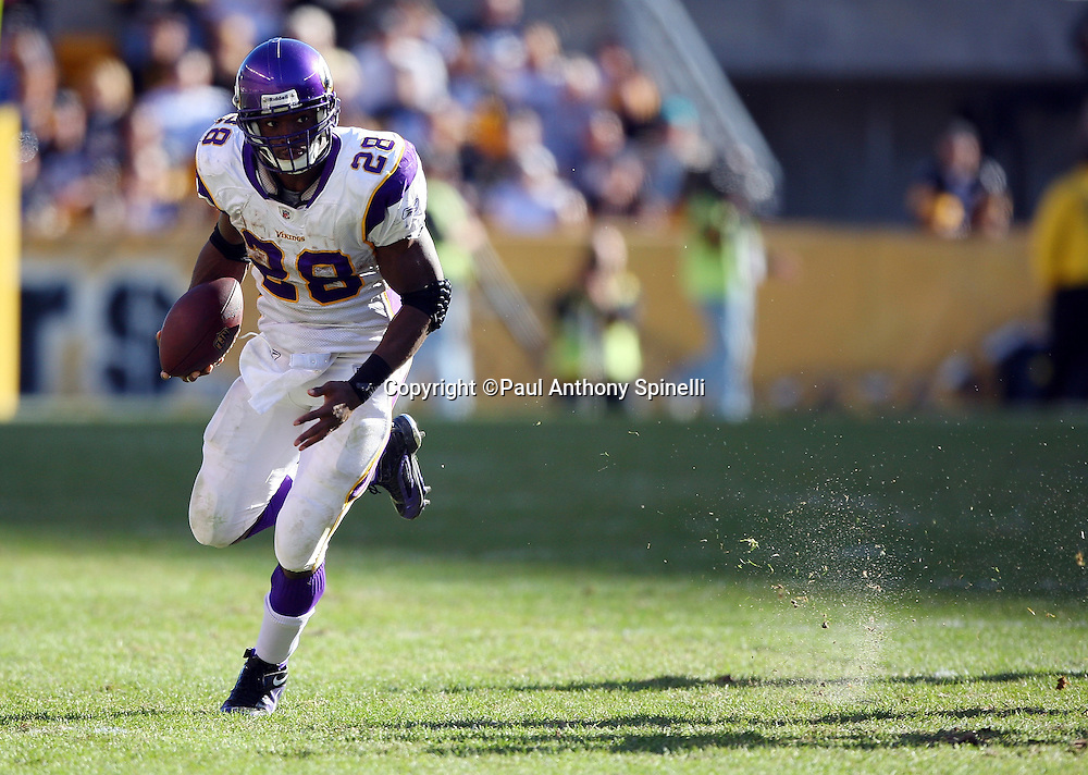 Minnesota Vikings running back Adrian Peterson (28) runs the ball during the NFL football game against the Pittsburgh Steelers, October 25, 2009 in Pittsburgh, Pennsylvania. The Steelers won the game 27-17. (©Paul Anthony Spinelli)