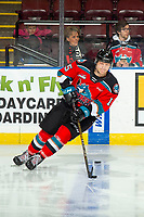 KELOWNA, BC - NOVEMBER 30:  Dallon Wilton #15 of the Kelowna Rockets warms up with the puck against the Prince George Cougars at Prospera Place on November 30, 2019 in Kelowna, Canada. (Photo by Marissa Baecker/Shoot the Breeze)