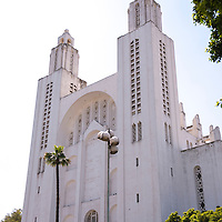 The now deconsecrated Casablanca Cathedral, or Cathedrale Sacre-Coeur, is an example of Mauresque architecture and now is a cultural and exhibition space in Casablanca, Morocco.