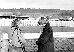Camilla Parker-Bowles (left) and Lady Diana Spencer (later the Princess of Wales) at Ludlow racecourse to watch the Amateur Riders Handicap Steeplechase in which the Prince was competing.