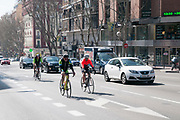 Urban cyclists in Madrid, Spain
