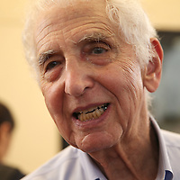 Government whistleblower Daniel Ellsberg interacts with students at the UC Berkeley Graduate School of Journalism during the first week orientation for incoming students at North Gate Hall in Berkeley, California, on Wednesday, August 27, 2014. Ellsberg, who is most famous for his role in the Pentagon Papers ordeal, spoke with students about such topics as freedom of the press, whistleblowers Eric Snowden and Chelsea Manning, and the responsibilities and ethical morals of reporters and other members of the media. (AP Photo/Alex Menendez)