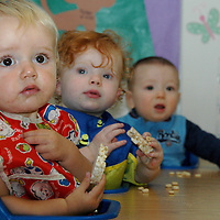 Infants eat during a 'nutrition break' on Monday, July 9, 2007, at the Santa Monica Family YMCA's Child Development Center. The Santa Monica Family YMCA's Child Development Center is for infants, toddlers and preschool children from 6 weeks to 5 years old.