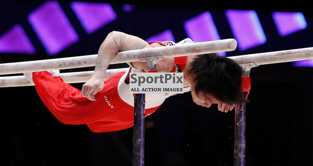 2015 Artistic Gymnastics World Championships being held in Glasgow from 23rd October to 1st November 2015.....Japan's Kohei Uchimura performs in the Parallel Bars routine in the Men's All-Round Final...(c) STEPHEN LAWSON | SportPix.org.uk