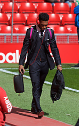 LIVERPOOL, ENGLAND - Sunday, April 10, 2016: Liverpool's Daniel Sturridge arrives before the Premier League match against Stoke City at Anfield. (Pic by David Rawcliffe/Propaganda)