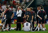 Photo: Glyn Thomas.<br />England v Portugal. Quarter Finals, FIFA World Cup 2006. 01/07/2006.<br /> England's players are dejected and manager Sven Goran Eriksson (C) cannot believe what has happened as his side loses on penalties to Portugal.