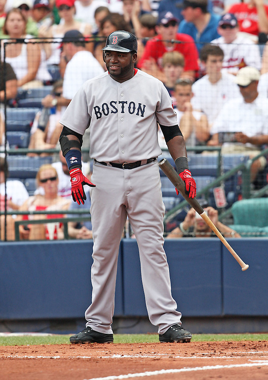 ATLANTA - JUNE 28:  First baseman David Ortiz #34 of the Boston Red Sox looks for a sign before stepping into the batter's box during the game against the Atlanta Braves at Turner Field on June 28, 2009 in Atlanta, Georgia.  The Braves beat the Red Sox 2-1.  (Photo by Mike Zarrilli/Getty Images)