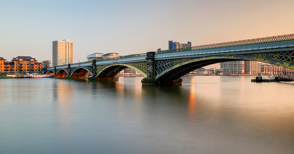 The Cremorne Bridge, also known as the Batersea Railway Bridge, over the River Thames in London