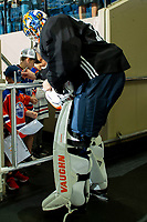 KELOWNA, BC - SEPTEMBER 23:  Mikko Koskinen #19 of the Edmonton Oilers stops on his way to the ice to sign autographs at Prospera Place on September 23, 2019 in Kelowna, Canada. (Photo by Marissa Baecker/Shoot the Breeze)