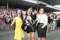 29/07/2014 Michelle Hynes and Fiona Costello from Galway and Mairead Costello Mayo enjoying a win in the 2nd race at Galway Summer racing Festival. Photo: Andrew Downes