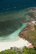 Aerial view of Isla Iguana shore. Los Santos province, Azuero peninsula, Panama, Central America.