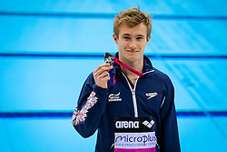 Jack Laugher of Great Britain holds up his Silver Medal from the Mens 3m Springboard Final - Mandatory byline: Rogan Thomson/JMP - 12/05/2016 - DIVING - London Aquatics Centre - Stratford, London, England - LEN European Aquatics Championships 2016 Day 4.
