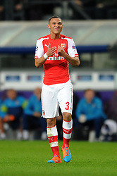 Arsenal's Kieran Gibbs cuts a frustrated figure - Photo mandatory by-line: Dougie Allward/JMP - Mobile: 07966 386802 - 22/10/2014 - SPORT - Football - Anderlecht - Constant Vanden Stockstadion - R.S.C. Anderlecht v Arsenal - UEFA Champions League - Group D