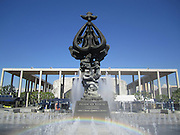 Peace on Earth Sculpture Fountain at the Music Center in Los Angeles, California. Nice rainbow!