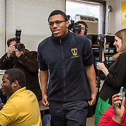 WASHINGTON,DC - MAR18: Bruce Beuzard IV, a senior at KIPP DC College Preparatory, was surprised at school with a hand-delivered acceptance letter and full scholarship to attend George Washington University, March 18, 2015, through the Stephen Joel Trachtenberg Scholarship program. (Photo by Evelyn Hockstein/For The Washington Post)