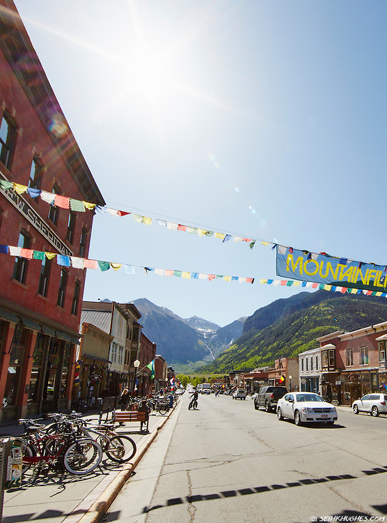 Downtown Telluride, Colorado is home to multiple film and music festivals in the summer months.