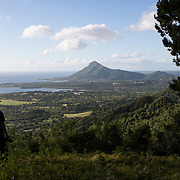 A hiker looks toward Tourelle du Tamarin from the trail to Piton du Canot in Black River, Mauritius. The island, which is dominated by sugarcane plantations, only has less than 2% of its native forest cover.
