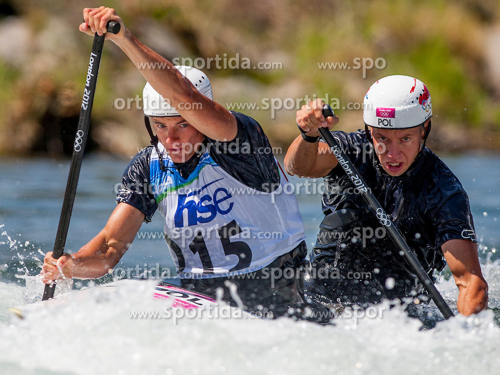 Marcin Pochwala and Piotr Szczepnski of Poland during Canoe (C2) Man final race at ICF Canoe Slalom World Cup Sloka 2013, on August 18, 2013, in Tacen, Ljubljana, Slovenia. (Photo by Urban Urbanc / Sportida.com)