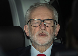 © Licensed to London News Pictures. 13/12/2019. London, UK. Labour Party Leader Jeremy Corbyn briefly closes his eyes as he leaves party headquarters by the back door after the 2019 General Election results showed a majority for the Conservative Party.The Conservatives are predicted to win the election with a majority of 64 seats. Photo credit: Peter Macdiarmid/LNP