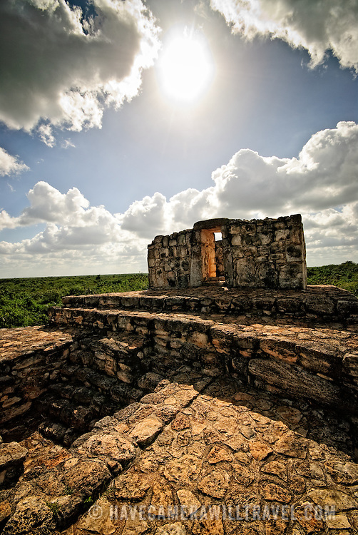Atop the Oval Palace at the ancient Mayan ruins at Ek' Balam, near Valladolid, Yucatan, Mexico