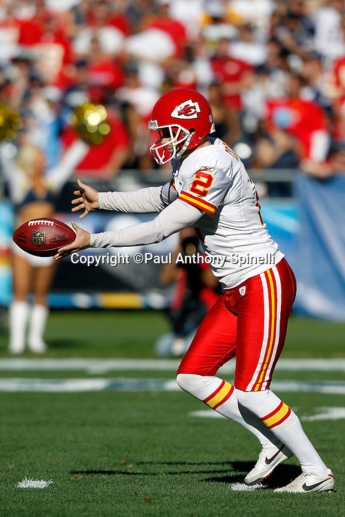 Kansas City Chiefs punter Dustin Colquitt (2) punts the ball during the NFL week 14 football game against the San Diego Chargers on Sunday, December 12, 2010 in San Diego, California. The Chargers won the game 31-0. (©Paul Anthony Spinelli)