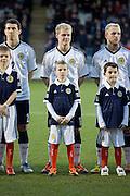 Scotland's Gary Mackay-Steven and mascot - Scotland v Holland - UEFA U21 European Championship qualifier at St Mirren Park..© David Young - .5 Foundry Place - .Monifieth - .Angus - .DD5 4BB - .Tel: 07765 252616 - .email: davidyoungphoto@gmail.com.web: www.davidyoungphoto.co.uk