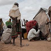 kenya, Dadaab, le 18-08-11 - camp Ifo 3. Il accueille plus de 400 000 personnes, Dabaab est le plus grand camp de réfugiés au monde.  Ce sont pour la plupart des Somaliens (95%) ayant fuit la guerre et la famine, deux fléaux qui sévissent dans leur pays. Devant cette tente le voisins et la famille d'une jeune maman tente de la raisonner. Son enfant malnutri se meurt. Il ne s'alimente plus depuis des jours mais en l'absence de son mari elle refuse de le conduire à l'hôpital.
