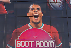LIVERPOOL, ENGLAND - Monday, August 3, 2020: An image of Liverpool's Virgil van Dijk wearing the new Nike home shirt on the Spion Kop at Anfield. Liverpool's new kit supplier Nike replaces New Balance in a five year deal reported to be worth $39.5 per year. (Pic by David Rawcliffe/Propaganda)