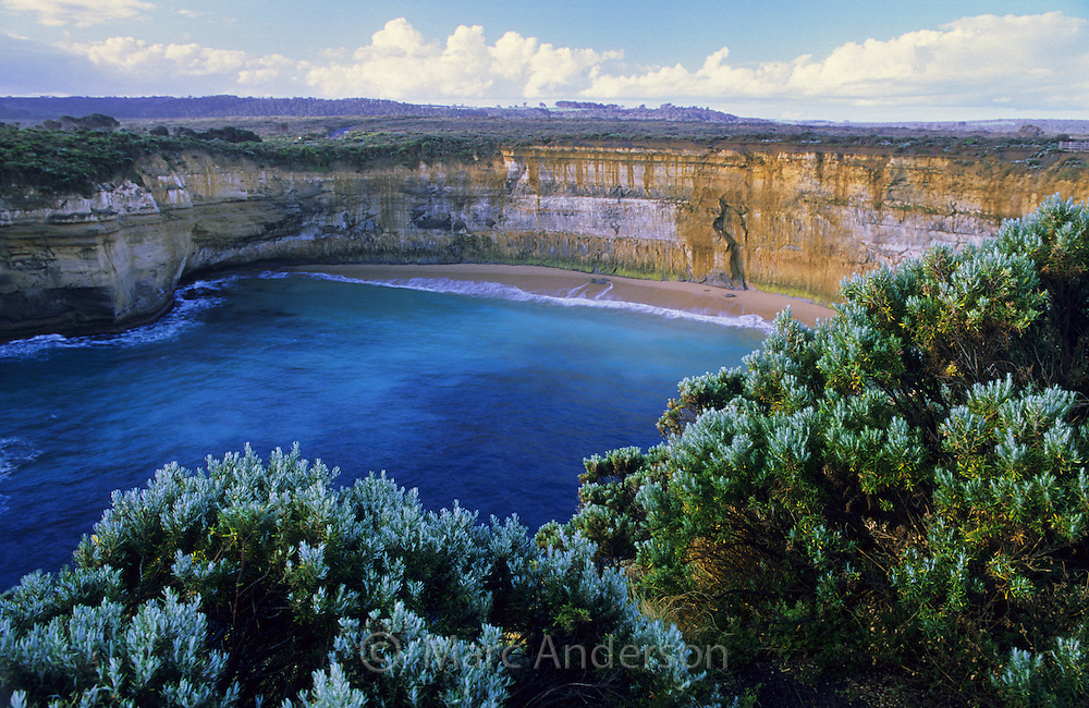 A beautiful bay and beach surrounded by cliffs, Loch Ard Gorge, Great Ocean Road, Australia.
