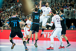 Tonci Valcic #24 of PPD Zagreb and Nikola Karabatic #44 of Paris Sant-Germain during handball match between PPD Zagreb (CRO) and Paris Saint-Germain (FRA) in 11th Round of Group Phase of EHF Champions League 2015/16, on February 10, 2016 in Arena Zagreb, Zagreb, Croatia. Photo by Urban Urbanc / Sportida