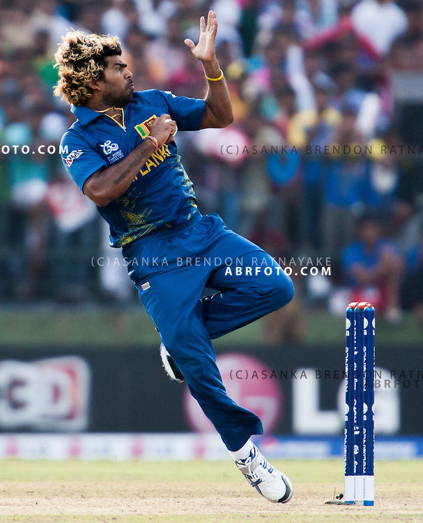 Lasith Malinga leaps as he is about to bowl during the ICC world Twenty20 Cricket held in Sri Lanka.