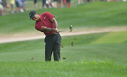 August 12, 2018 - St. Louis, Missouri, U.S. - ST. LOUIS, MO - AUGUST 12: Tiger Woods drives from the fairway of the 18th hole during the final round of the PGA Championship on August 12, 2018, at Bellerive Country Club, St. Louis, MO.  (Photo by Keith Gillett/Icon Sportswire) (Credit Image: © Keith Gillett/Icon SMI via ZUMA Press)