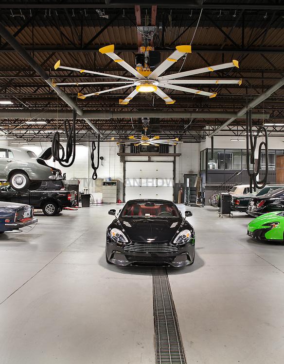 Big Ass fan installation at Aston Martin Dealership